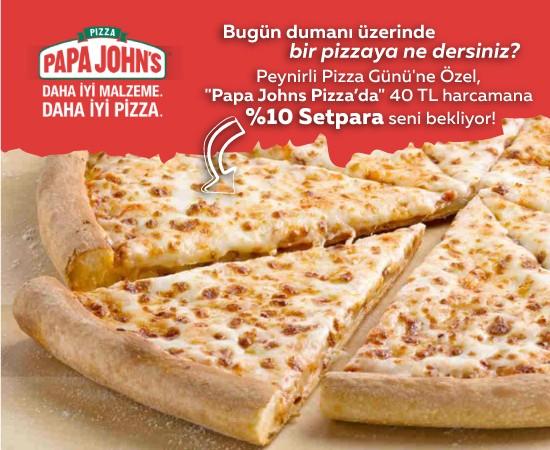 peynirli pizza günü papajohns
